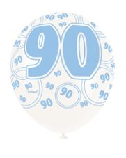 90th Birthday Blue Glitz Latex Balloons 12 inch